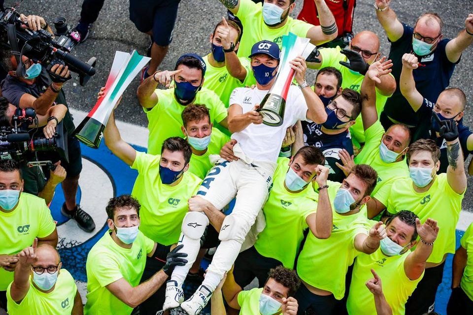 AlphaTauri and Pierre Gasly win the Italian Grand Prix. Photo: Facebook AlphaTauri